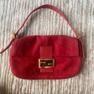 Fendi red suede baguette bag
